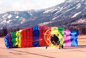Take-off with a powered parachute