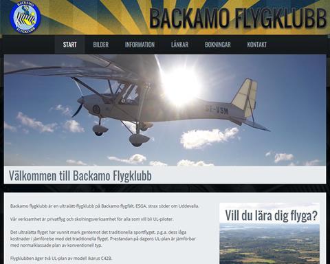 Backamo Flygklubb hemsida
